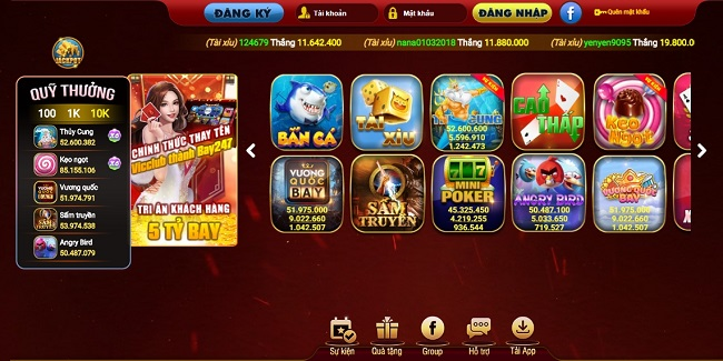 Giao diện cổng game bay247